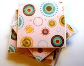 SALE Ceramic Tile Coasters Set of Four, Firework Design