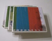 SALE Ceramic Tile Coasters Set of Four, Chunky Rainbow Stripes