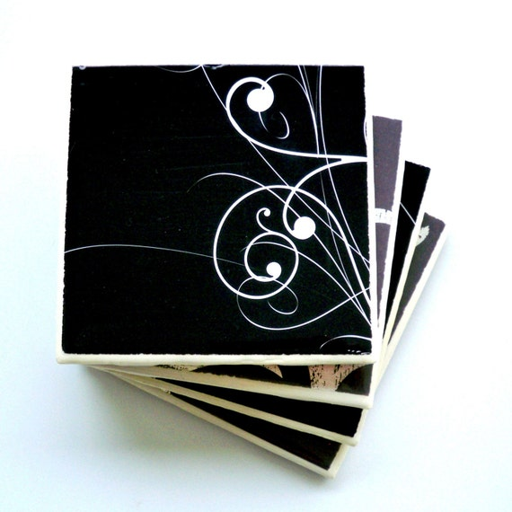 Ceramic Tile Coasters Set of Four, Classic Black and Silver