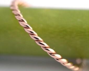 Pink Gold Twist- 14k Modern Wedding Band or Stacking Ring