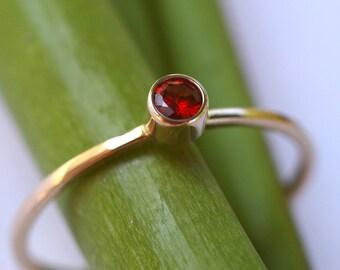 Sweet Orange Sapphire Bloom - Modern Stacking Ring