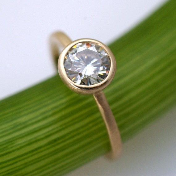 Moissanite Facets .8 Carat Modern Engagement Ring