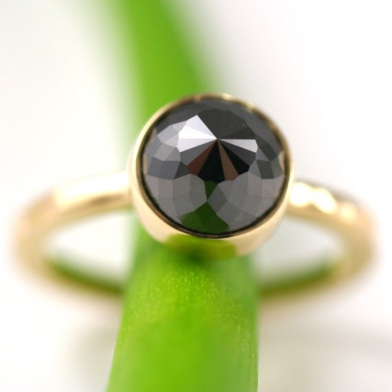 Rose Cut Black Diamond Engagement Ring- One Of A Kind