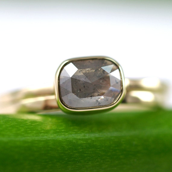 Rose Cut Gray Diamond Ring - One Of A Kind