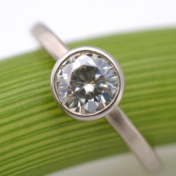 Moissanite Facets .8 Carat Modern Engagement Ring