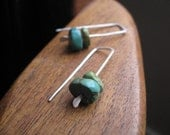 organic turquoise earrings in sterling silver