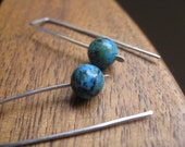 sterling silver earrings. chrysocolla earings. turquoise jewelry. splurge
