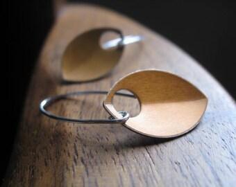 dangle earrings in anodized aluminum. copper jewelry. sterling silver earwires. modern leaf.