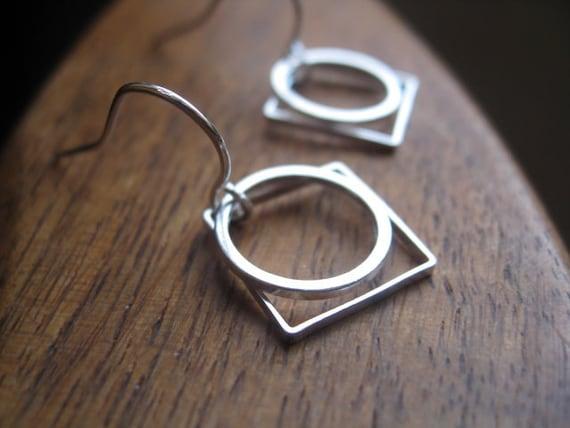 geometric silver earrings. modern earrings. circle earrings. square earrings. splurge.