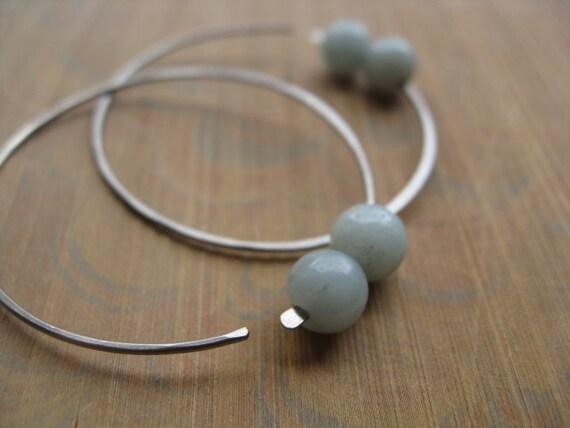 niobium earrings in blue amazonite. dark silver earrings. hoops. splurge.