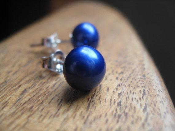 RESERVED cobalt pearl earrings in sterling silver. pearl stud earrings. silver earrings. royal blue earrings. splurge