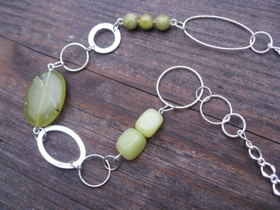 modern link silver and green jade necklace