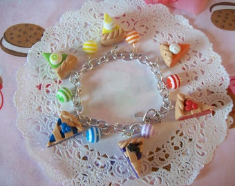Charm Bracelet Rainbow Pie Slices - Made to Order Ready to Ship