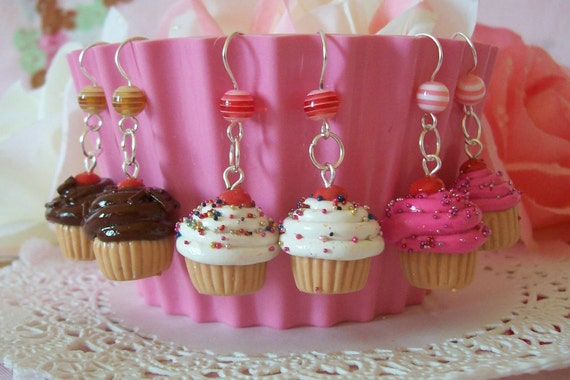 Cupcake Earrings - Choose from three flavors Vanilla Chocolate or Pink - Made to Order