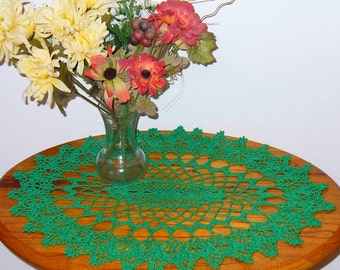 Large Oval crocheted doily - Kerry Green - ready to ship