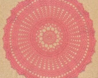 Pink popcorns - ready to ship - handmade crocheted doily
