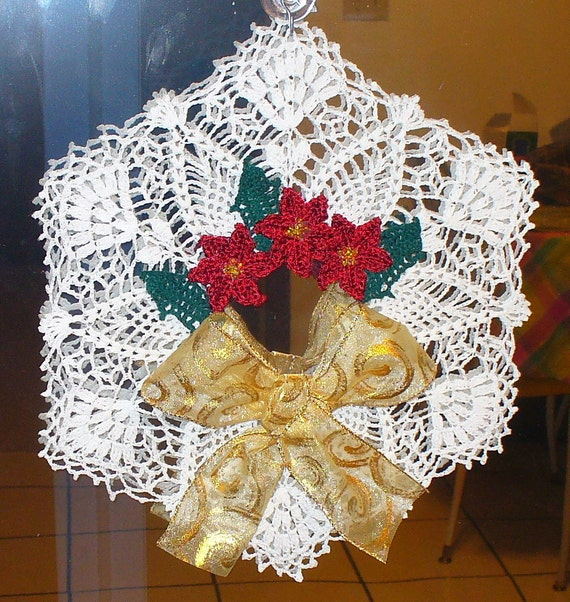 Hanging Poinsettia Wreath Doily - crocheted