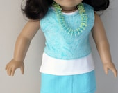American Girl / 18 inch doll straight skirt, layered tees and necklace, aqua and white
