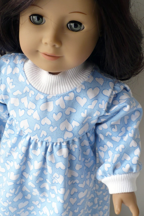 American Girl 18 inch doll nightie - blue knit with hearts