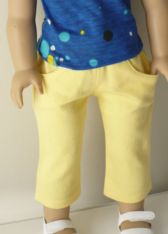 American Girl 18 inch doll clothes -  yellow skinny jeans-style capris, knit t-shirt and necklace