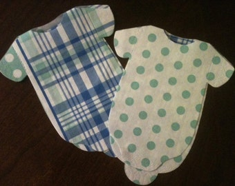 """Any quantity Baby Boy shower """"shirt"""" paper napkins or banner in madras blues and lime greens and polka dots"""