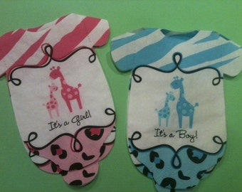 "Any quantity Baby shower ""clothing"" napkins or decoration Safari theme blue or pink giraffes"