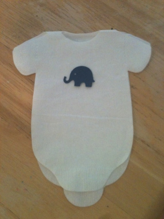 30 Baby shower onesie napkins or banner decoration adorned with elephants - in any color. Great for safari jungle theme.