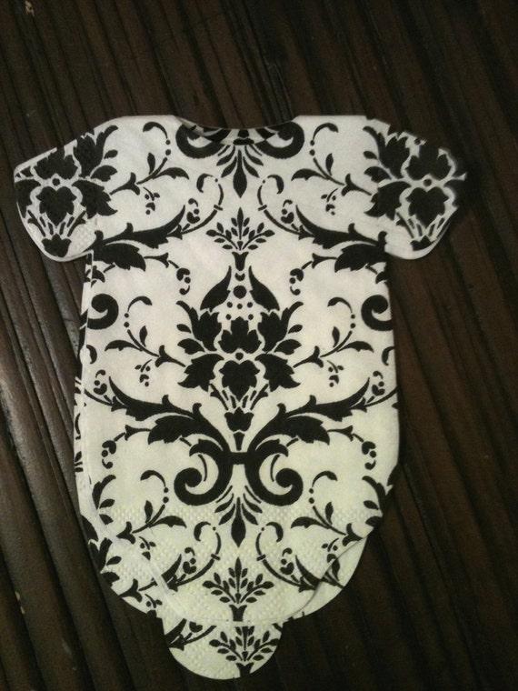 Custom listing for Jill.  Elegant black and white damask onesie napkins Pack of 60 with 1/4 chartruese/green
