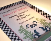 Panda Bear Birthday or Baby Shower Invitations for Boy or Girl
