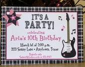 Pink Guitar Music Girl Birthday Party Invitations