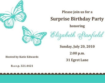 Teal Butterfly Invitations