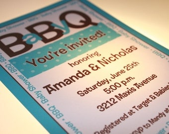 Baby BBQ Shower Invitations for Boy or Girl