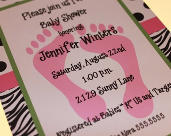 Zebra Print Baby Shower Invitations for Girl or Boy