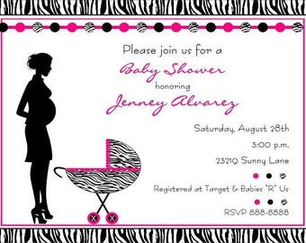 Zebra Print Baby Shower Invitations for Boy or Girl