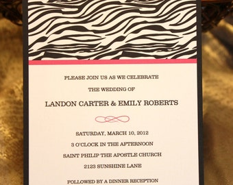 Elegant Zebra Print Wedding Invitations