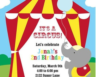 Circus Birthday Party Invitations