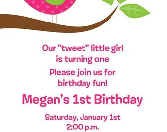 Cute Bird Birthday Invitations