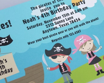 Boy and Girl Pirate Birthday Invitation