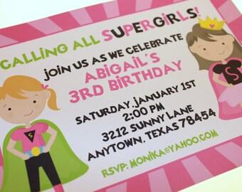 Super Girl Birthday Invitation