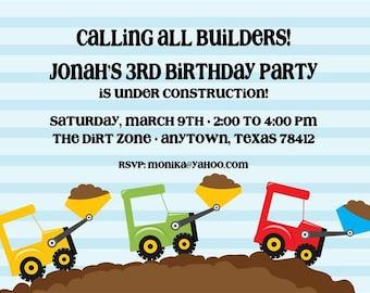 Dump Truck Birthday Party Invitations