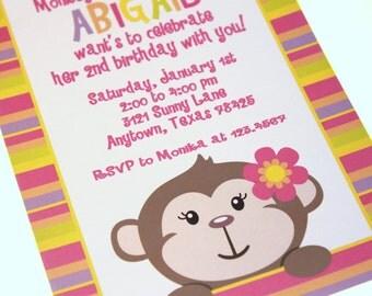 Cute Monkey Girl Birthday Invitations