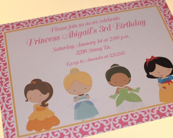 Custom PRINTED Princess Birthday Invitations - 1.00 each envelope included