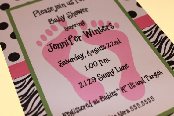 zebra print baby shower invitations for girl or boy by paper, Baby shower invitations