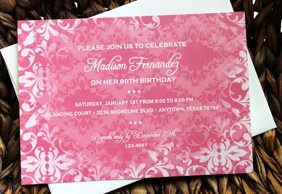 Pink vintage birthday wedding bridal shower anniversary save the