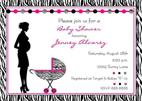 zebra print baby shower invitations for boy or girl by paper, Baby shower invitations