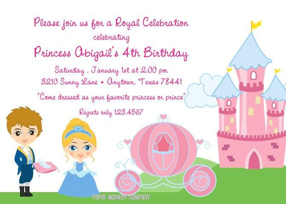 princess birthday invitations by paper monkey company  catch my party, Birthday invitations