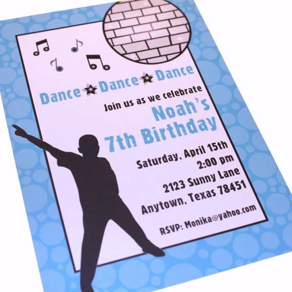 Boys dance birthday invitation by paper monkey company for Where can i buy party invitations