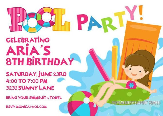 Pool Party Invitations – Pool Party Invitations for Girls