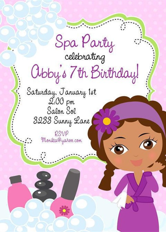 Spa Birthday Invitations as awesome invitation template