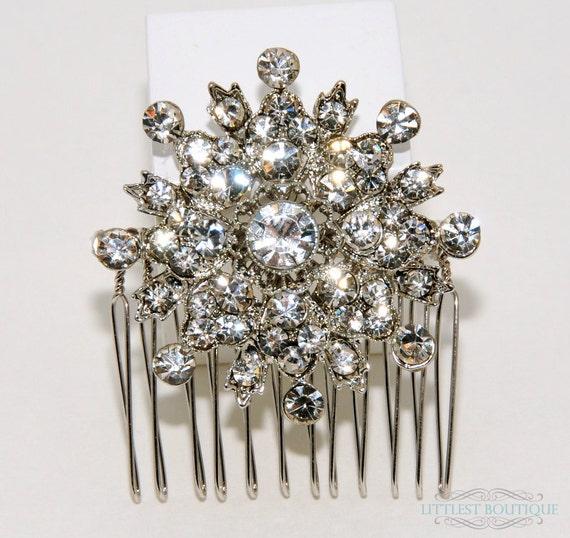 Karen - Rhinestone Round Snowflake Brooch on Silver Metal Hair Comb